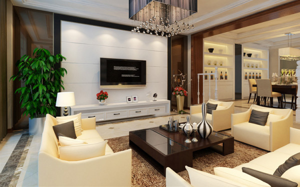 客厅,高端大气的客厅空间 设计理念:简单的点,线,面是构成现代简约的主要元素,在处理空间方面一般强调室内空间宽敞、内外通透,在空间平面设计中追求不受承重墙限制的自由。