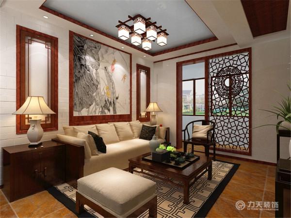 中式的角几上放着中式的台灯,配上中式的沙发与茶几,将中式的特点凸出的淋漓尽致。