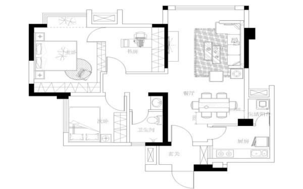 把主卧和书房放在一个空间,这样就可以做更多的储物空间。