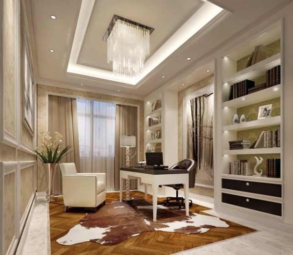 书房内干练的线条白色的木框已是简约时尚,而纯色的沙发椅黑白配使的整体风格保持了沉稳的风格。