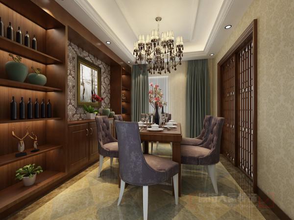 背景墙、柜子的设计都蕴含着丰富的中式元素,衬托主题。