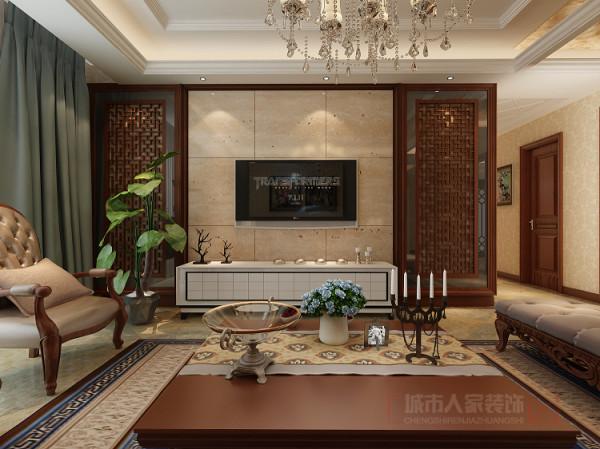 电视背景墙选用米色砖配花格,不仅使人视线得到扩展,放松,顿时为整个客厅添上一层神秘的面纱
