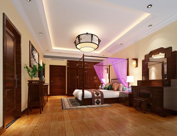 新中式风格的梳装台配上收纳空间极强的复古衣柜,简洁而不失效果的吊顶,使空间更加宽敞。配上粉色床蔓使房子更舒适。