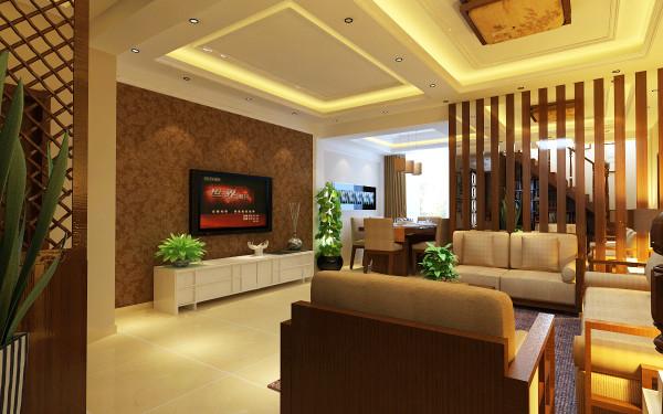 楼上主要起居室,也可以当客厅,设计师采用简约的吊顶,红木色沙发与电视背景墙纸色采相呼应。白色顶与白色地砖相结合,使整个客厅没有了中式的沉重色调更加简约舒适。