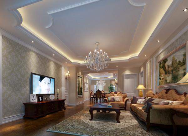 客厅的设计和餐厅融为一体,棕黑色的地板和壁纸竟是如此和谐搭配 ,家具整体色系的风格,也是如此让人喜爱。灰色的布艺沙发敦敦实实地坐落在客厅的中央。而背景墙的设计简单时尚。