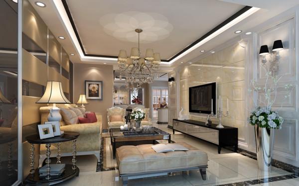 客厅整个空间的中,使用了微晶石+护墙板的电视背景点缀的华丽,同时也用了硬包+镜面的沙发背景。前后呼应,上下点缀。在这奢华感中少去那份堕落,多了一份慵懒。