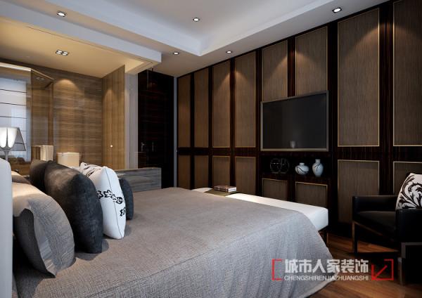 作为主卧现有空间并不是很大,考虑放张大床几乎没有活动空间了,为了满足正常的功能需将室内扩大,同样订做成品家具储物与装饰融为一体,同时又将卫生间前提改用玻璃材质,使空间更有延伸感。