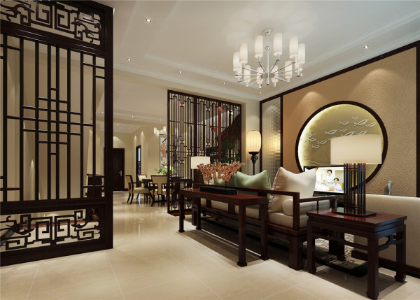 本案家具、陈设和软装都采用暖色调,所呈现出氛围的舒适而温暖。家具的造型简朴厚重,布局对称雅致,使整体空间更加稳重大气,