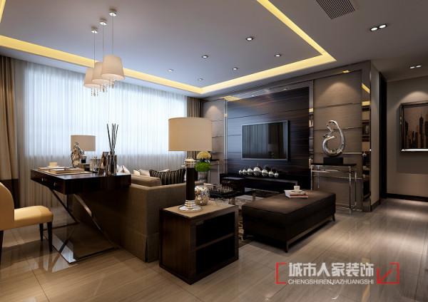 空间设计大开大合,大扇的落地窗给整个空间带来了良好的光线。中性灰色布艺沙发搭配电视背景近色系,造就了一个沉稳,舒适的空间,灯带给客厅添加了几许温暖。
