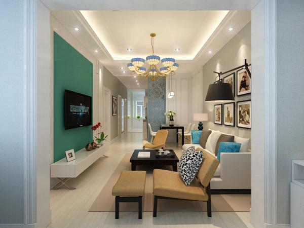 客厅在一片清新简约的白色空间中,一组色彩鲜明的特色家具,对比出极具视觉层次的北欧风格,蓝色纯色壁纸铺设的电视背景墙,浅浅带出悠闲自在的北欧情调。