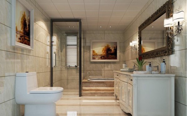 卫生间整体空间其实是居家生活比较重要的一个空间,人的休闲空间,一天疲劳的工作,闲暇之余的小憩,在舒适的浴缸中泡泡澡,慵懒中略带华丽。华丽中带这丝丝的慵懒。