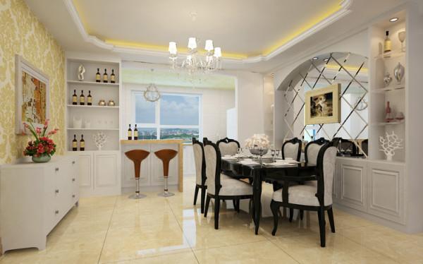 餐厅的造型与客厅呼应,配合镜面,整个空间更显稳重优雅。菱镜配合餐边柜,更显时尚大气。