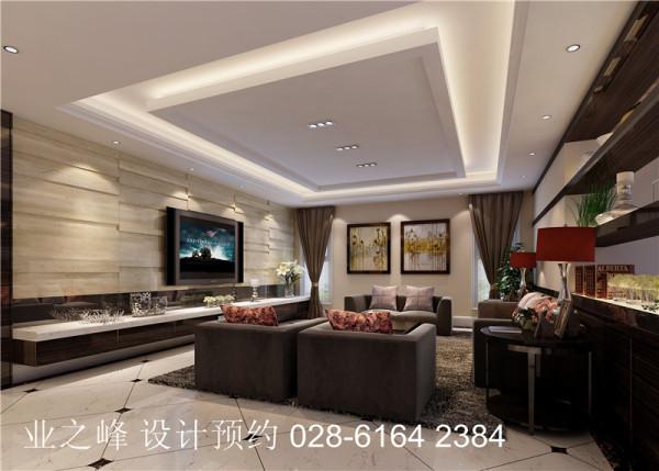 【客厅】条型石材电视背景墙与沙发背景深浅色系相呼。