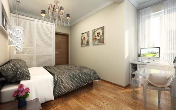 以顶部横梁划分卧室空间,一面为就寝区,一面为休闲学习区。狭小的落地窗前设置书桌,不仅解决了学习空间,也解决了学习时对采光的要求。