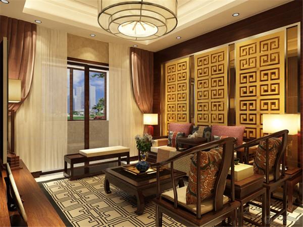 客厅我采用仿古砖铺贴地面,沙发、电视柜等家具我都靠墙放置,增加人的活动空间。深木色带花纹的沙发背景墙中有黄色的镂空板,给人一种无限遐想的韵味也给空间一种进升得感觉。