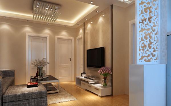 电视背景墙是客厅里面能反映装修风格的一面主墙,也是进门后的视觉焦点。本案例用壁纸和巧妙的收边做出了简洁大方的电视背景墙,充分体现了简约为不简单的理念。