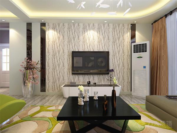 客厅及餐厅地面通铺800*800的灰色木纹磁砖,整个墙面刷淡紫色乳胶漆,电视背景墙则以石膏板与灰镜结合的造型为主,中间搭配浅色的树纹壁纸,简单、清新但又不乏时尚感