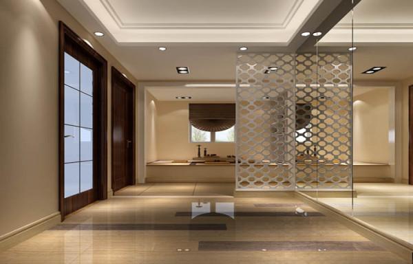 入户后首先进入眼帘的是一面白色的镂空隔断,隔断后面是多功能区,给人通透的感觉!右侧是一面大的镜面墙,方便业主出入打扮