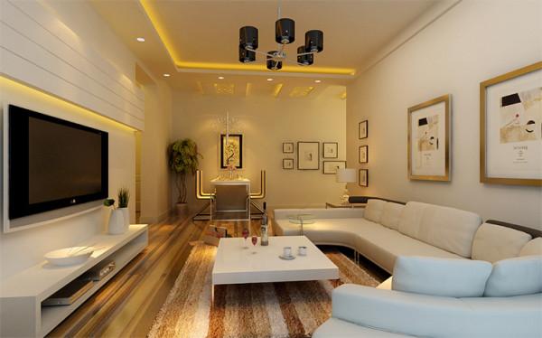 自然光线与纯净墙面使环境干净明亮,柔软的长沙发与足够大的活动空间满足业主的会客需求,电视背景墙的设计摈弃繁琐元素,直线造型更加利落。 电视背景墙的平行分割与沙发背景墙挂画相辅相成,创造视觉层次感。