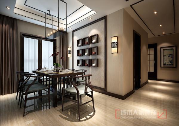 餐厅装饰墙采用富有寓意的九宫格造型,底面才衬以色差不大的亚麻质感的壁纸,整体简单大方。