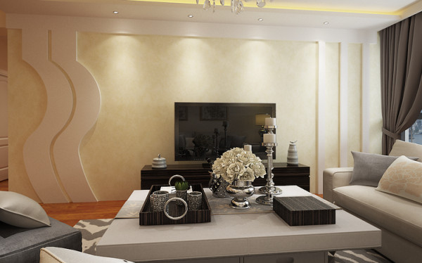电视背景墙的设计采用了壁纸与石膏板结合的方式进行造型 色彩搭配。 亮点:空间采用了规整有度,有规划,有协调的配饰,从重到轻都拥有着与众不同的气息。凸显出凹凸有致的特性。