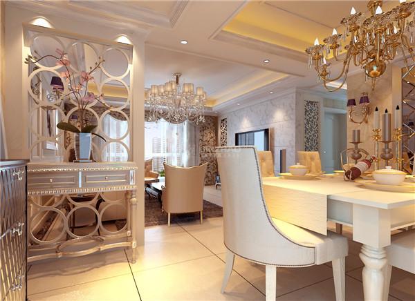 餐厅:餐桌的颜色与座椅的颜色与客厅融为一体,如此优雅的格调不失为一种享受。