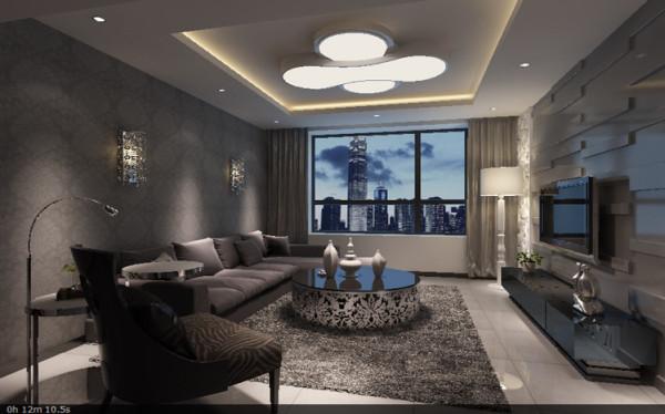 客厅简约设计中更加注重色彩的明快、线条的简约极致等。使用黑色镜面、雪花白大理石,石材装饰线条、很好的为使用者提供了陶冶情操、愉悦身心的场所和功能。壁纸装饰的沙发墙与电视墙具有很强的视觉冲击。
