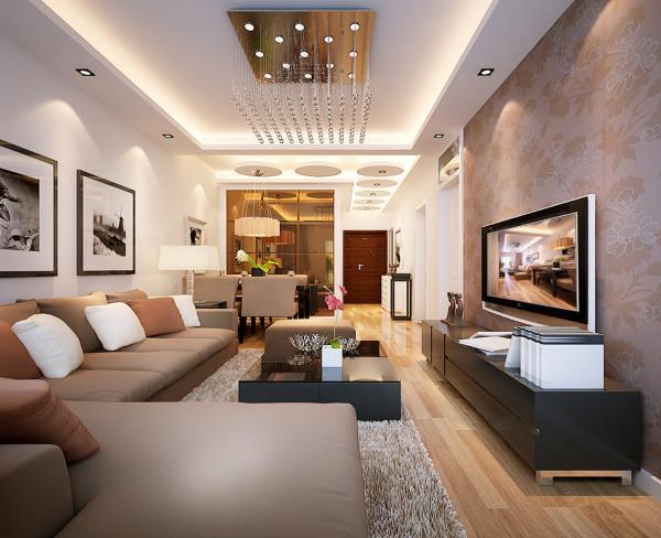 客厅大气、简约、沉稳为主基调,不要过多复杂的造型,直线的灯带吊顶,棕色的墙漆白白的门和门框垭口结合出了色彩的搭配协调稳重又不失简约,局部的点缀壁纸电视墙更有层次感更有冲击力。