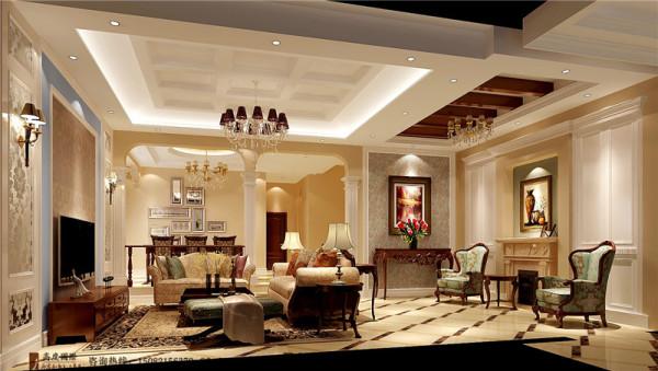 蔚蓝卡地亚客厅细节效果图-成都高度国际装饰