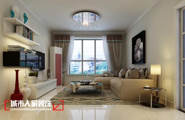 客厅内沙发、电视墙设计效果