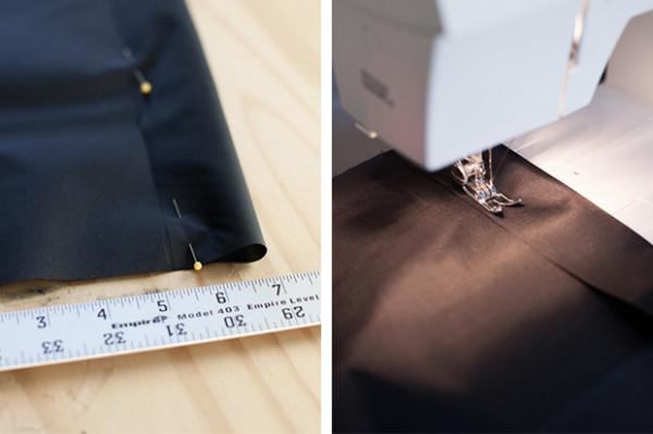 11. 折叠的尼龙织布上的两边大概1英寸的面料,在缝纫机上缝一个适合铜管直径的口袋。