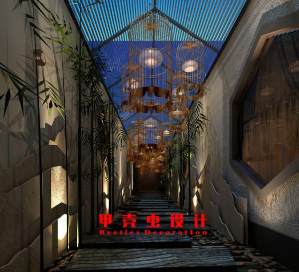 新中式风格饭店设计之景观走道装修效果图