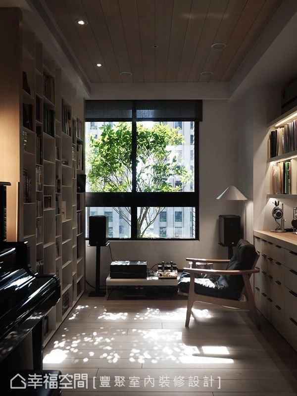 一扇窗、一张设计款单椅,非制式的悠闲,让书房拥有了更多的人文品味。