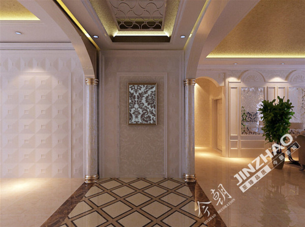本案主欧式风格,会给人以豪华,大气,奢侈的感觉,在色彩上,经常以白色系或黄色系为基础,搭配深棕色、金色等,表现出欧式风格的华贵气质。在材质上,采用石材、罗马柱等高档基材,便显出高贵典雅的贵族气质。