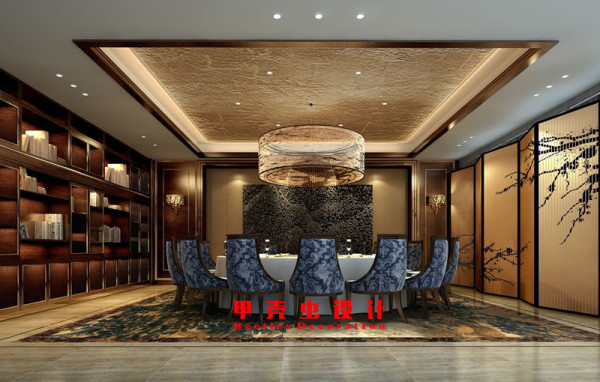 新中式风格饭店设计之豪华包厢装修效果图