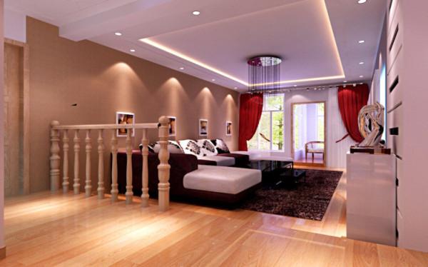 客厅采用普通的吊顶和富有造型的电视背景相结合,沙发背景的优美壁画。