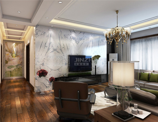 客厅电视背景墙以石材和灰镜相结合给客厅增添了几分时尚气息。