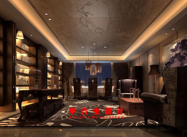 新中式风格饭店设计之12人包厢装修效果图