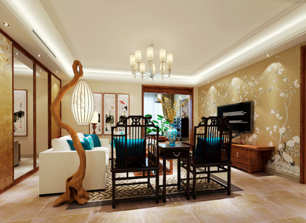 客厅的设计艺术感十足,仅一盏原木落地灯就能很好的体现出业主的品味。不论是背景墙的花鸟壁纸、墙面水墨装饰画、家具的搭配、地毯、插花等等都是中式元素的完美运用。