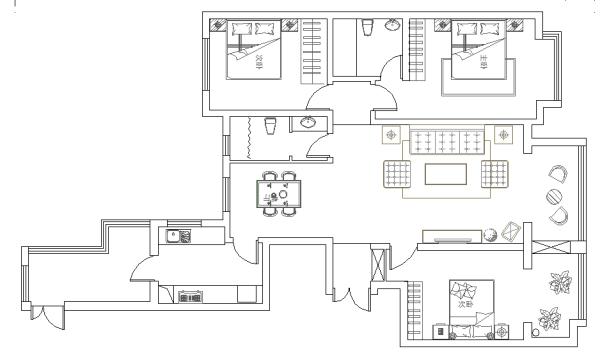 本案为三室两厅户型,房子的格局和规划很合理,整体的采光度和通风效果都还不错,卧室都带有小阳台或者带有窗户,确保房间能够享受到充足的光线照射。电视墙后的卧室在观看电视节目时产生的噪音容易影响主人的休息