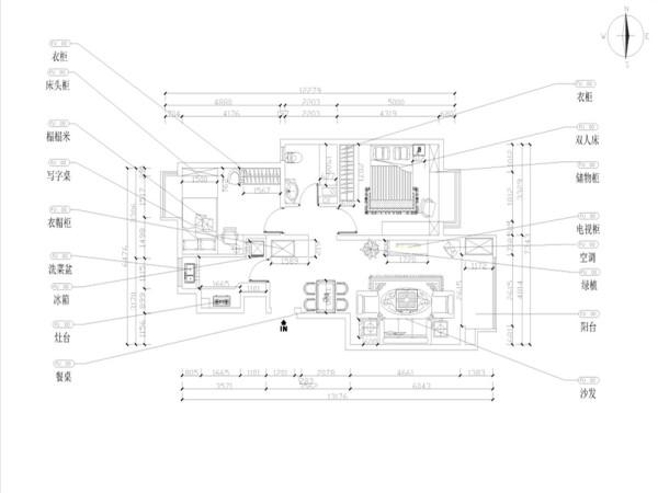 由入户门进入,左边是厨房区域,右边是餐厅区域,正对着是一个为业主量身打造的浅木色衣帽柜,再往里走进入客厅及阳台区域,客厅、阳台与餐厅紧密相连,南北通透,采光较好,卫生间则介于主卧室与次卧室之间