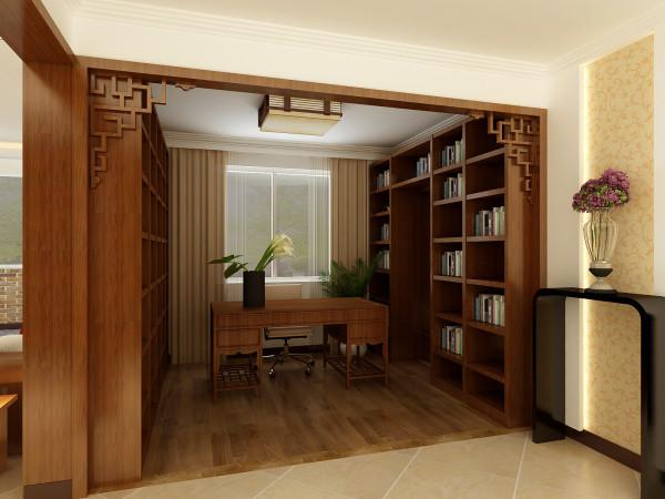 整面墙的书柜体现出了业主平时的工作性质,书柜又是一个隐形门把卧室的门完整的融合到了一起,不需要多余的装饰,身在其中只需安静下来,这就是我们所需要的书房。