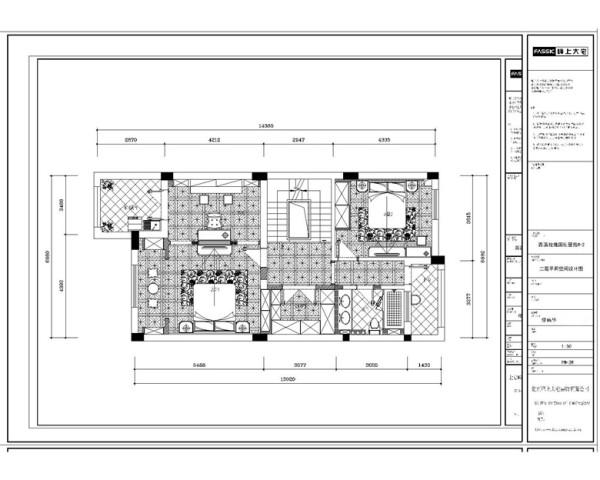 二楼平面方案 本案白色作为空间的主色调,营造出高雅、清新的欧式氛围,同时配上了古典的摆设(如果盘、画、茶几等,使整个空间尽显古典的风韵,又与现代的审美观点完美地融为一体。