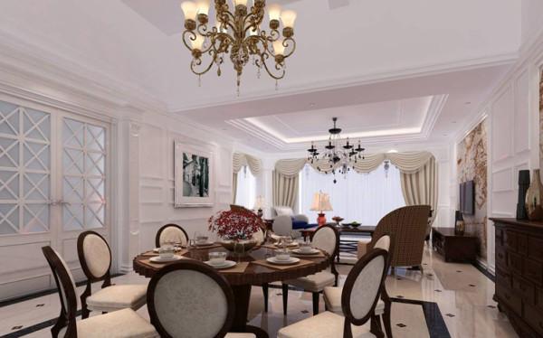 采用宽大精美的圆形餐桌,配以精致的雕刻,整体营造出一种华丽、高贵、温馨的感觉。材质多采用樱桃木、胡桃木等高档的实木,表现出高贵典雅的贵族气质。