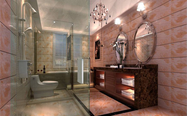 舒适的超大浴缸,典雅的欧式浴室柜,古典欧式镜子和简洁有力的铁艺镜框,让欧式卫浴间带有人文色彩。使用别有韵味的亚光砖装饰墙面和地面,营造出古典优雅、温暖踏实的感觉,是打造欧式风格卫浴间的重要手段。
