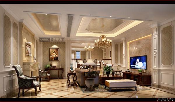 本案白色作为空间的主色调,营造出高雅、清新的欧式氛围,同时配上了古典的摆设(如果盘、画、茶几等,使整个空间尽显古典的风韵,又与现代的审美观点完美地融为一体。