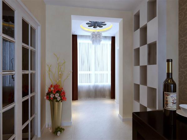 客厅选用的是浅色的地砖 配备以咖啡色的壁纸和沙发布 深浅搭配 吊顶用烤漆玻璃突出整个空间的质感