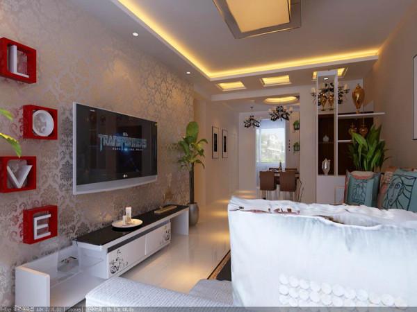 电视背景墙采用石膏线做的几何造型