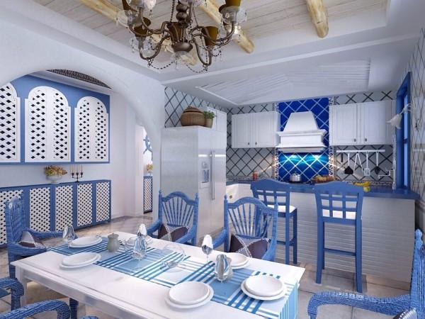 高脚吧台椅,餐桌椅壁柜蓝白色搭配,很浪漫的地中海风格。通过设计上连续的拱门、马蹄形窗来体现空间的通透,用栈桥状露台,开放式房间功能分区体现开放性,通过开放性和通透性的建筑装饰来表达地中海风格的自由精神