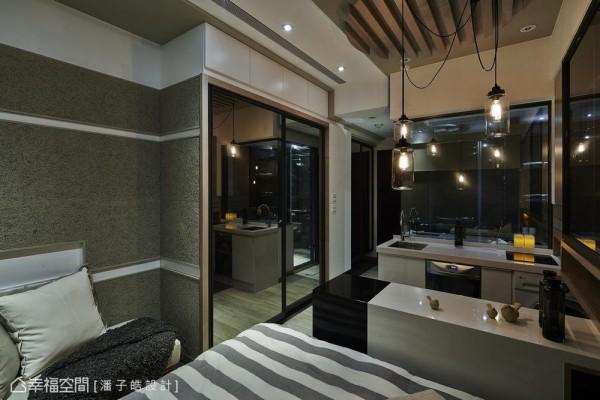 带入日式Loft质感的纤泥板作为壁材搭配,顺着线性转折达到横向延伸的视觉效果。